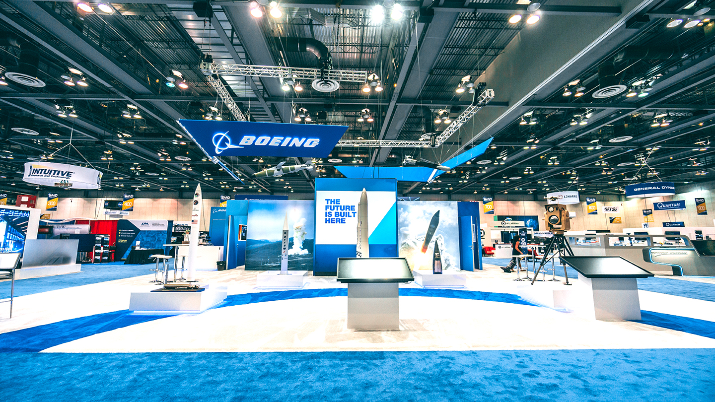 Boeing trade show booth at Space, missile and defense symposium